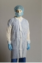 Picture of Gown Polypropylene Labcoat White 3/4 length velcro down the front long sleeve -APPR495215- (BOX-50)