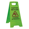 "Picture of Sign Green -  Caution Wet Floor - Cleaning in Progress ""A"" Frame-CLEA384553- (EA)"