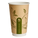 Picture of 16oz Biodegradable Double Wall Kraft Coffee Cup - Leaf Design-BIOD076214- (CTN-500)